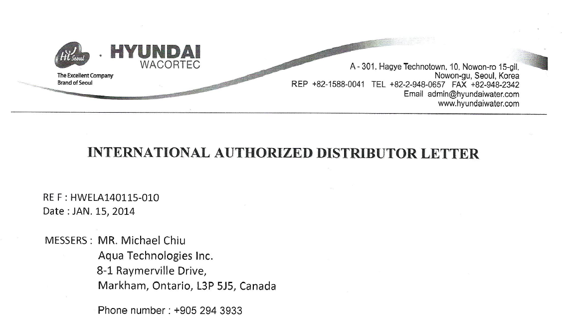 Hyundai Authorized Distributor Letter