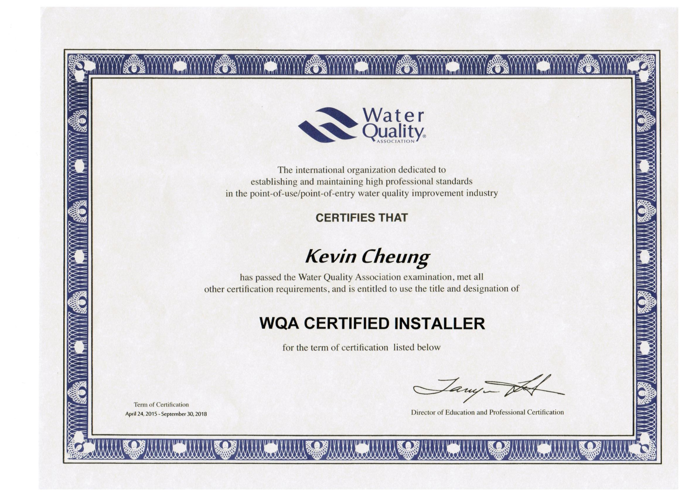 KEVIN CWS CERTIFICAT